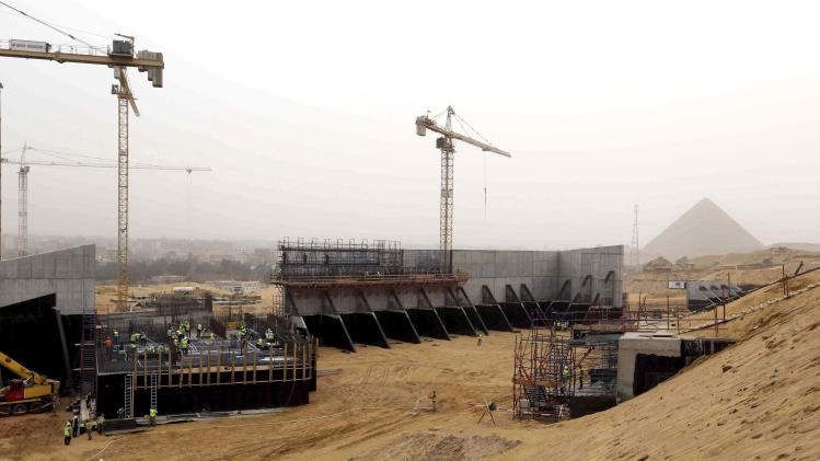 General view shows the construction site of the Grand Egyptian Museum in Giza
