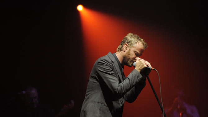 """FILE - This May 21, 2010 file photo shows Matt Berninger, of the band The National, performing during a concert in Los Angeles.  The Tribeca Film Festivall announced Thursday that """"Mistaken for Strangers,"""" which documents the National on tour, will premiere April 17. The film is directed by Tom Berninger, a roadie for the band and brother to lead to singer Matt Berninger. The Tribeca Film Festival runs April 17 through April 28. It will next week announce the feature film slate for its 12th annual festival. (AP Photo/Chris Pizzello, file)"""