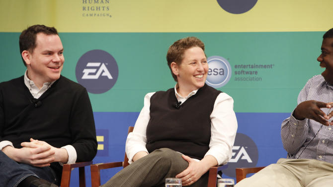 Senior Director of Communications of ESA Dan Hewitt, Game Producer at Kixeye Caryl Shaw and Director of Business Development & Industry Relations at Tencent Gordon Bellamy speak at Electronic Arts'  LGBT Full Spectrum Event on Thursday, March, 7, 2013 in New York City, New York. (Photo by Amy Sussman/Invision for EA/AP Images)