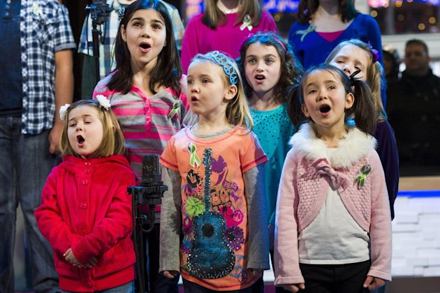 "Children from Newtown, Conn. and Sandy Hook Elementary school perform ""Somewhere Over the Rainbow"" on ABC's ""Good Morning America"" on Tuesday, Jan. 15, 2013 in New York. The Children who survived last"