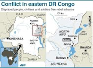 <p>Map of eastern Democratic Republic of Congo locating Kibati, Goma and Bukavu. Regional leaders have called on DR Congo rebel group M23 to end hostilities and leave a key eastern town they seized in a rampant advance that has sparked fears of a wider conflict.</p>