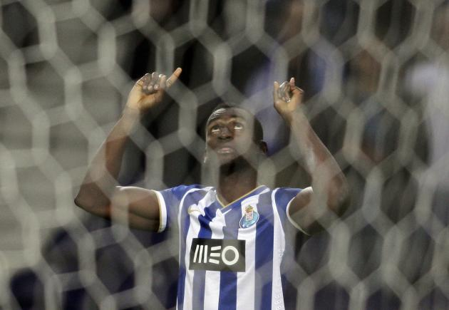 Porto's Jackson Martinez celebrates his goal against Napoli during their Europa League round of 16 first leg soccer match at the Dragao stadium in Porto