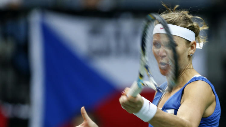 Czech Republic's Lucie Safarova returns a ball to Jelena Jankovic from Serbia during their Fed Cup final singles tennis match in Prague, Czech Republic, Sunday, Nov. 4, 2012. (AP Photo/Petr David Josek)