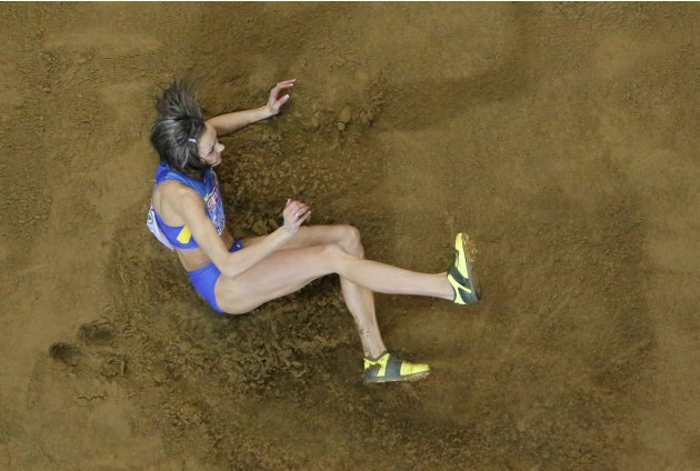 Saladuha of Ukraine competes in the Triple Jump Women Final at the European Athletics Indoor Championships in Gothenburg