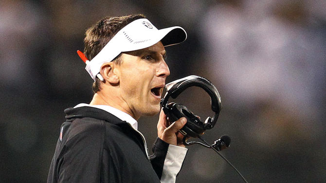 Oakland Raiders head coach Dennis Allen yells during the second quarter of an NFL football game against the San Diego Chargers in Oakland, Calif., Monday, Sept. 10, 2012. (AP Photo/Tony Avelar)