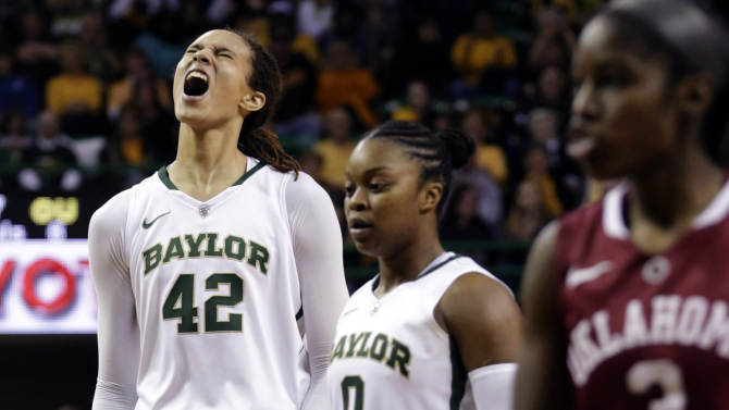 FILE - In this Jan. 26, 2013, file photo, Baylor's Brittney Griner (42) celebrates after breaking the NCAA women's career record for blocks as Odyssey Sims (0) and Oklahoma's Aaryn Ellenberg (3) stand by during the second half of a college basketball game in Waco Texas. Baylor was announced Monday, March 18, to join Connecticut, Stanford and Notre Dame as a No. 1 seed in the women's tournament, marking the second straight season those four schools were the top seeds. (AP Photo/LM Otero, File)