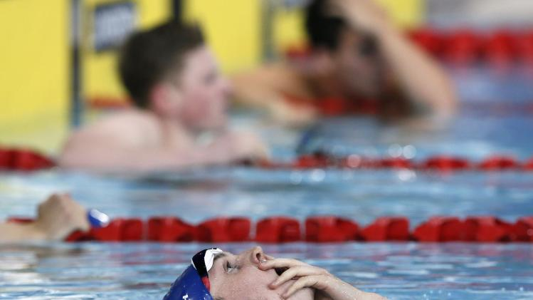 Murdoch of Scotland reacts after winning the men's 200m Breaststroke final during the 2014 Commonwealth Games in Glasgow