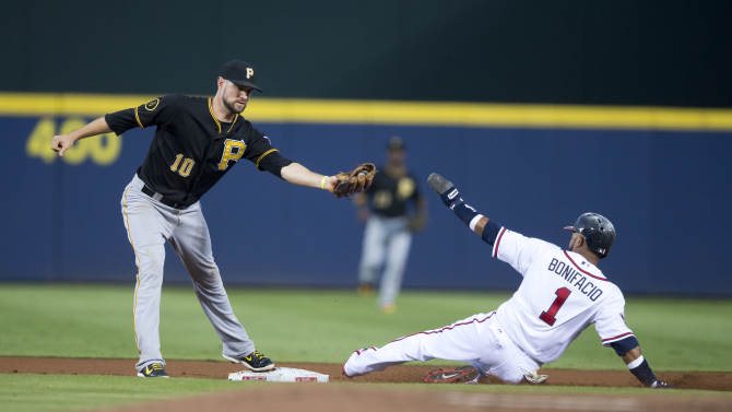 Pittsburgh Pirates shortstop Jordy Mercer (10) forces out Atlanta Braves Emilo Bonifacio at second base on a ball hit by Phil Gosselin during the first  inning of a baseball game  Tuesday, Sept. 23, 2014, in Atlanta. (AP Photo/John Bazemore)