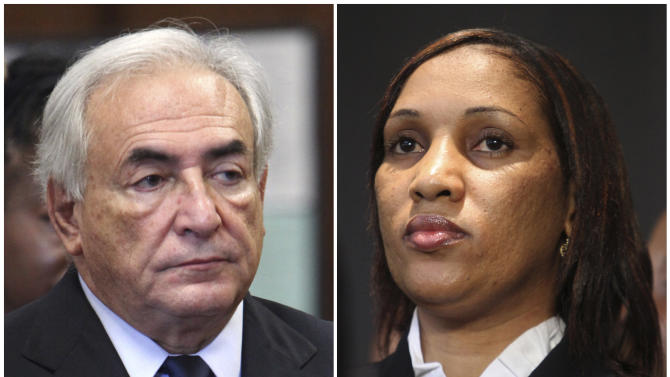 """This combo made from file photos shows former IMF leader Dominique Strauss-Kahn on June 6, 2011, left, and Nafissatou Diallo on July 28, 2011, in New York. Tapping a New York City law against gender-based violence and pointing to other allegations that have circled Strauss-Kahn, Diallo's lawyers wrote in court papers that the onetime French presidential contender attacked her """"because she is a woman and, at least in part, because he has an animus towards women."""" (AP File Photos)"""