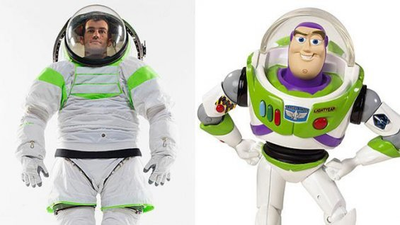 NASA's new spacesuit and Buzz Lightyear's (Photo: NASA/Mattel Toys)