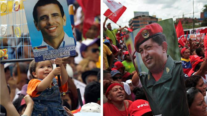 """FILE - This combo of two file photos shows events for opposition presidential candidate Henrique Capriles, left, and Venezuela's President Hugo Chavez, right, in Caracas, Venezuela, in 2012. At left, supporters of Capriles rally at the National Electoral Council on June 10, 2012, and at right, supporters of Chavez rally on March 10, 2012. A little more than a month ahead of Venezuela's Oct. 7, election, Chavez enjoys clear advantages over his challenger in campaign funding and media access. While neither campaign has revealed how much it's spending, Capriles says he is in a """"David versus Goliath"""" contest, facing a well-financed incumbent backed by an even richer government. (AP Photo/Fernando Llano, File)"""