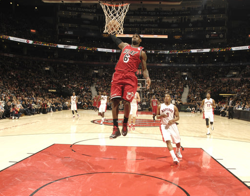TORONTO, CANADA - FEBRUARY 3: LeBron James #6 of the Miami Heat goes to the basket during the game between the Toronto Raptors and the Miami Heat during the game on February 3, 2013 at the Air Canada Centre in Toronto, Ontario, Canada.  (Photo by Ron Turenne/NBAE via Getty Images)