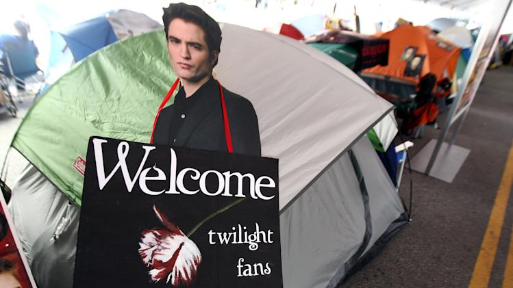 "A cutout of actor Robert Pattinson is displayed inside the Twilight fan camp ahead of the world premiere of ""The Twilight Saga: Breaking Dawn - Part 2"" on Friday, Nov. 9, 2012 in Los Angeles. The premiere will be held Nov. 12. (Photo by Matt Sayles/Invision/AP)"