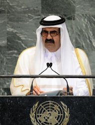 Qatar Emir Sheikh Hamad bin Khalifa Al-Thani addresses the UN General Assembly in New York. The emir called for Arab intervention in Syria and a no-fly zone to protect refugees