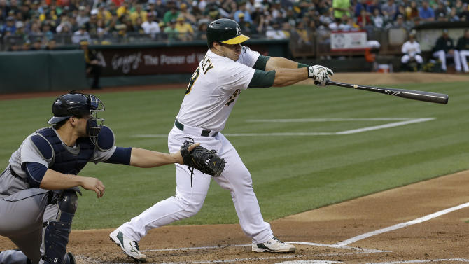 Oakland Athletics' Josh Phegley, right, hits a two-run double in front of Seattle Mariners catcher Mike Zunino during the first inning of a baseball game in Oakland, Calif., Thursday, July 2, 2015. (AP Photo/Jeff Chiu)