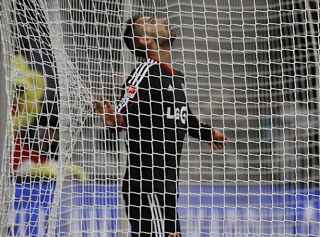 Leverkusen's Omer Toprak of Turkey looks up after missing a ball  during the German first division Bundesliga soccer match between Bayer Leverkusen and Eintracht Frankfurt in Leverkusen, Germany,