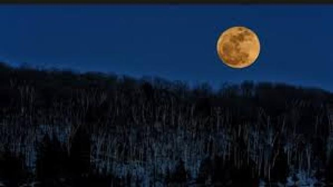 A so-called 'supermoon' shines brightly over a frozen lake in Muskoka, Ont., on March 19, 2011.