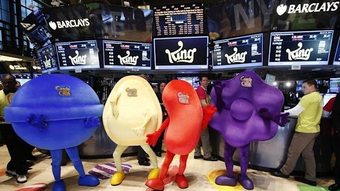 """Mascots dressed as characters from the mobile video game """"Candy Crush Saga"""" pose during the IPO of Mobile game maker King Digital Entertainment Plc on the floor of the New York Stock Exchange"""