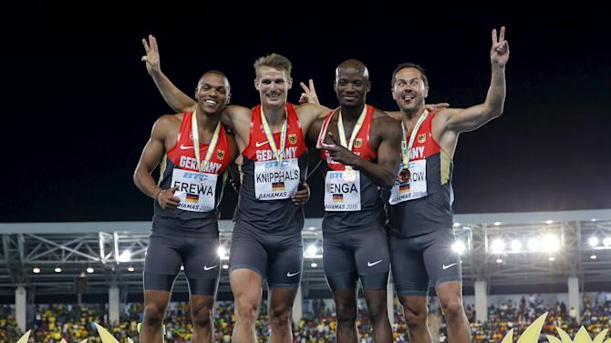 Germany's 4x200 relay team celebrate with their bronze medals at the IAAF World Relays Championships in Nassau