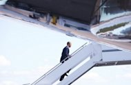 US President Barack Obama boards Air Force One. Hollywood stars welcomed Obama's public endorsement of same-sex marriage, as the US president jetted in Thursday for a record-breaking fundraiser in Tinseltown