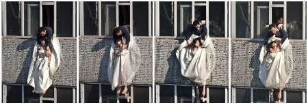 Combo picture shows woman in wedding gown being grabbed by local community officer as she attempts suicide in Changchun