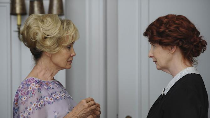 """In this image released by FX, Jessica Lange, left, and Frances Conroy are shown in a scene from the """"American Horror Story,"""" premiering Wednesday, Oct. 5, 2011 at 10 p.m. EDT. (AP Photo/FX, Robert Zuckerman)"""