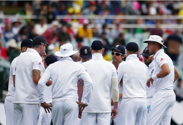 England's captain Cook talks to his team before the first day's play of the second Ashes test against Australia in Adelaide
