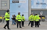Police outside the Etihad Stadium