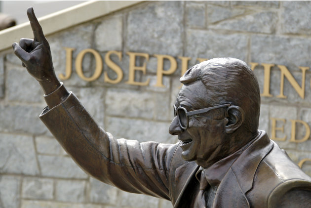 The statue of former Penn State University head football coach Joe Paterno stands outside Beaver Stadium in State College, Pa., Friday, July 13, 2012. After an eight-month inquiry, former FBI director