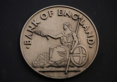 The logo is seen at the Bank of England in the City of London