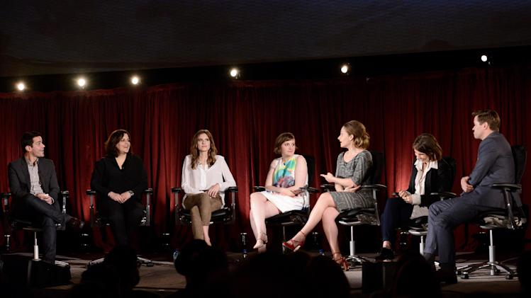 "EXCLUSIVE - Dave Karger, moderator and chief correspondent for Fandango and from left, executive producer Elene Landress, Allison Williams, Lena Dunham, Jemima Kirke, Zosia Mamet and Andrew Rannells attend ""An Evening with GIRLS"" on Thursday, March 13, 2014, at the Television Academy in the NoHo Arts District in Los Angeles. (Photo by Dan Steinberg/Invision for the Television Academy/AP Images)."