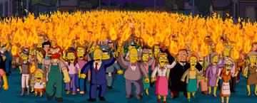 The entire town of Springfield, transformed into an angry mob, in 20th Century Fox's The Simpsons Movie