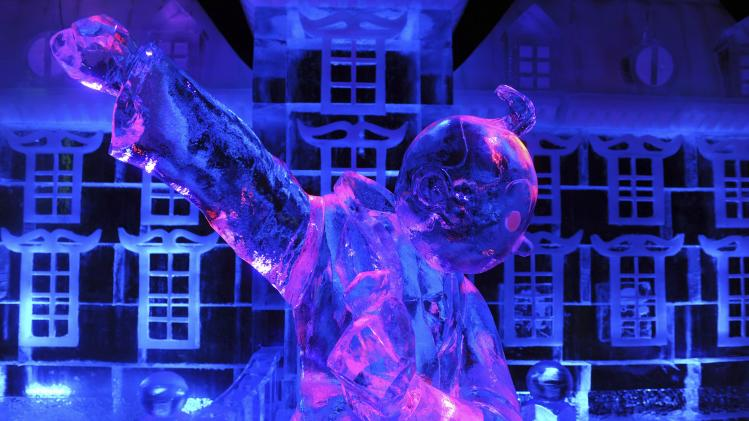 An ice sculptures of Tintin is seen at the Brussels Ice Magic Festival