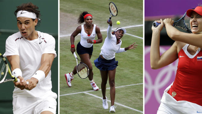 FILE - This combination of file photos shows, from left, Monica Seles on Aug. 28, 1995, Novak Djokovic on Aug. 18, 2012, Rafael Nadal on June 26, 2012, Serena and Venus Williams on Aug. 4, 2012, Maria Sharapova on Aug. 4, 2012, Victoria Azarenka on Aug. 1, 2012, and Jimmy Connors on Sept. 5, 1991. Fans can look forward to a variety of grunts, shrieks and hoots as the start of the U.S. Open tennis tournament approaches on Monday, Aug. 27, in New York. Noisemaking competitors have stirred reactions from tennis enthusiasts and opposing competitors alike, causing governing bodies to look for ways to regulate the sound level. The Associated Press takes a look at offenders past and present, the hindrance rule, and how to tame the grunters. (AP Photos, File)