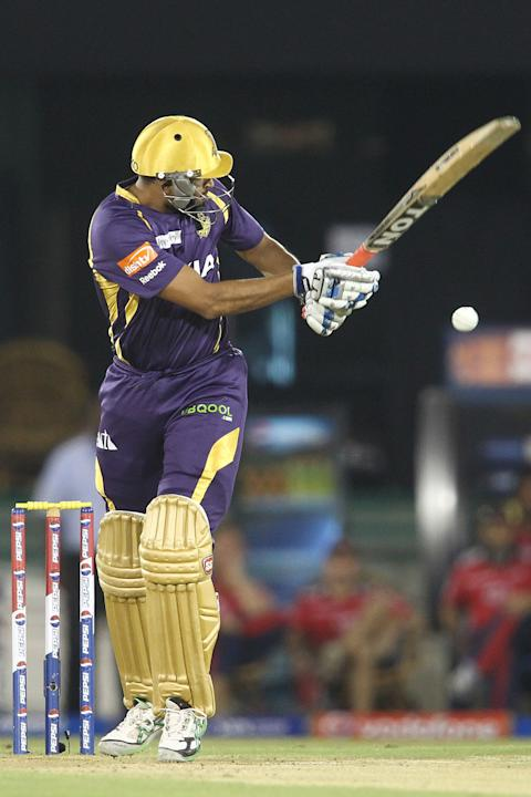 Yusuf Pathan of Kolkata Knight Riders flicks a delivery down the leg side to the boundary during match 44 of the Pepsi Indian Premier League between The Delhi Daredevils and the Kolkata Knight Riders