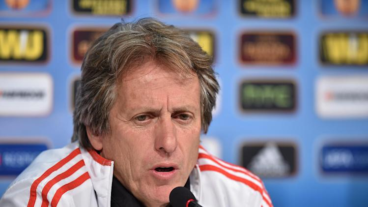 In this photo made available by Uefa, Benfica coach Jorge Jesus talks during a press conference ahead of tomorrow's final of the Europa League against Sevilla, at the Juventus stadium in Turin, Italy, Tuesday, May 13, 2014 ( AP Photo/Uefa, HO)