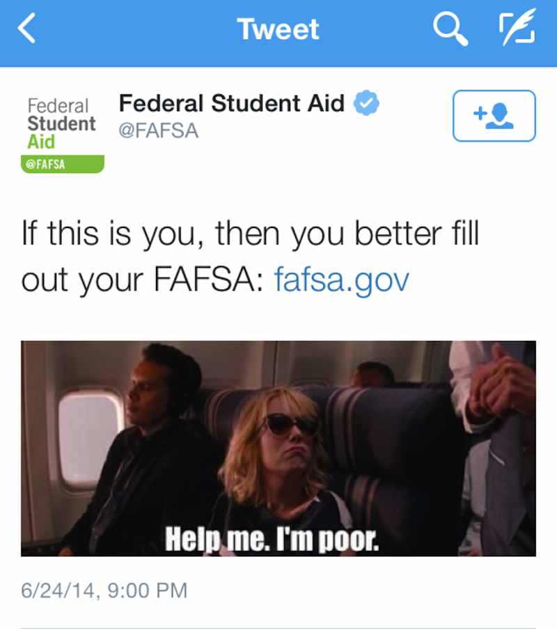 FAFSA Offensive Bridesmaids Tweet