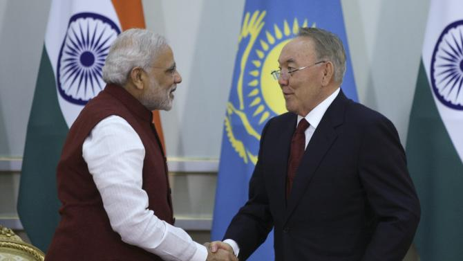 Kazakh President Nazarbayev attends a meeting with Indian Prime Minister Modi in Astana