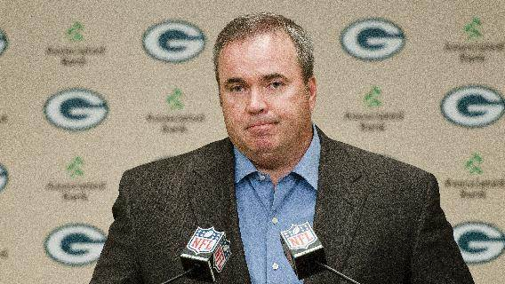 Green Bay Packers coach Mike McCarthy addresses reporters' questions about a controversial touchdown call on Monday Night Football during a press conference in Green Bay, Wis., on Tuesday, Sept. 25, 2012. (AP Photo/The Green Bay Press-Gazette, Lukas Keapproth) NO SALES