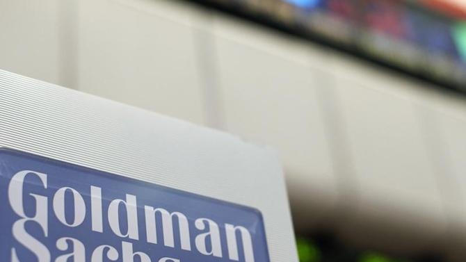 A Goldman Sachs sign is seen on the floor of the New York Stock Exchange