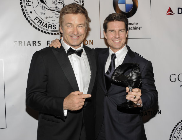 Actor Alec Baldwin and honoree Tom Cruise pose together at The Friars Club and Friars Foundation Honor of Tom Cruise at The Waldorf-Astoria on Tuesday, June 12, 2012, in New York. (Photo by Evan Agostini/Invision/AP)