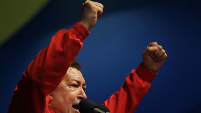 Venezuela's President Hugo Chavez speaks to supporters at a campaign rally in the Antimano neighborhood of Caracas, Venezuela, Friday, Aug. 3, 2012. Venezuela's presidential election is scheduled for Oct. 7. (AP Photo/Ariana Cubillos)