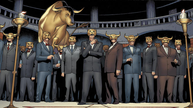 "This image provided by Valiant Comics shows a panel featuring ""The One Percent"" from the first issue of ""Archer & Armstrong.""  ""Archer & Armstrong"" _ an odd couple of an ancient immortal and a home-schooled and well-trained teenager acting as a fist of God _ find themselves at the cabal's mercy deep under Wall Street in ancient crypt where they find out about a plot to stabilize the euro _ and boost profits, too _ by destroying Greece. (AP Photo/Courtesy Valiant Comics)"