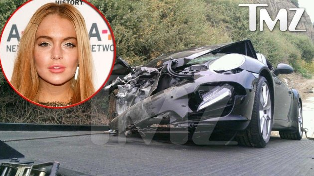 Porshe reportedly belonging to Lindsay Lohan following crash on June 8, 2012; inset: Lindsay Lohan -- TMZ.com