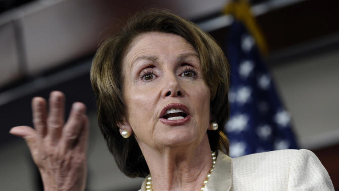 """In this photo taken June 27, 2013, House Minority Leader, Democrat Nancy Pelosi of California, speaks at a Capitol Hill news conference in Washington. The Republican chairman of the House Judiciary Committee said Sunday, June 30, that any attempt at comprehensive immigration legislation cannot offer a """"special pathway to citizenship"""" for those in the United States illegally. That approach, said Pelosi Sunday, could block the GOP's hopes of ever winning the White House. (AP Photo/Susan Walsh)"""