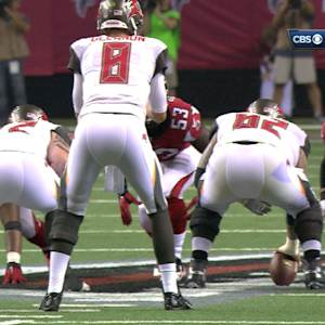Tampa Bay Buccaneers center Dietrich-Smith's bad snap with quarterback Mike Glennon