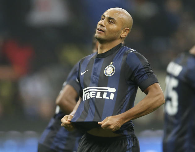 Inter Milan Brazilian defender Cicero Jonathan celebrates after scoring during the Serie A soccer match between Inter Milan and Hellas Verona at the San Siro stadium in Milan, Italy, Saturday, Oct. 26