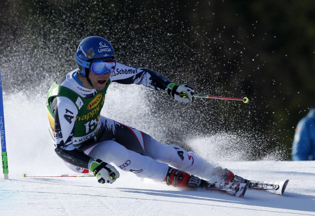 Benjamin Raich of Austria competes during the first run of an alpine ski men's World Cup giant slalom,  in Kranjska Gora, Slovenia, Saturday, March 8, 2014