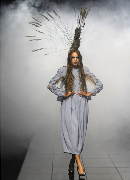 A model displays a creations by Kute during the Volvo Fashion Week in Moscow, Russia, Saturday, Oct. 29, 2011. (AP Photo/Misha Japaridze)