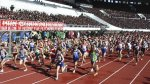 KCNA picture shows participants running in the IAAF 26th Mangyongdae Prize Marathon in Pyongyang